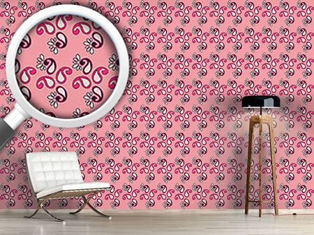 Design Wallpaper Fancy Paisley Pink