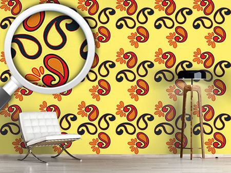 Design Wallpaper Fancy Paisley Sun