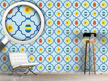 Design Wallpaper Easter Daffodils Blue