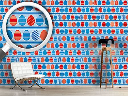 Design Wallpaper Blue Easteregg Stripes