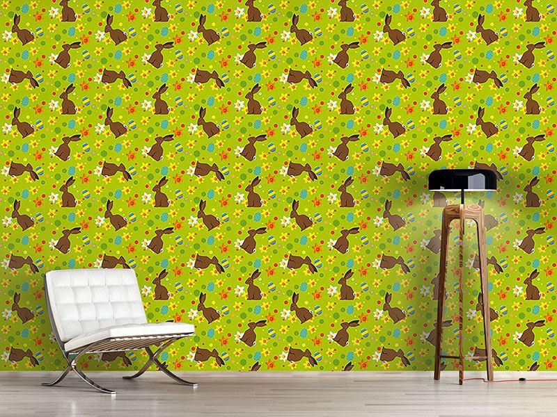 Design Wallpaper Easter Bunny Green