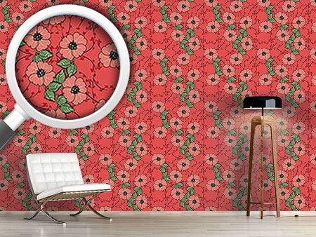 Design Wallpaper Red flowers with leaves