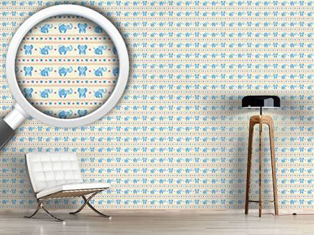 Design Wallpaper Blue Elephants