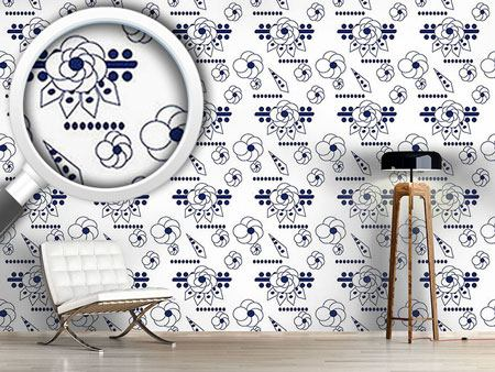 Design Wallpaper Flowers Blues
