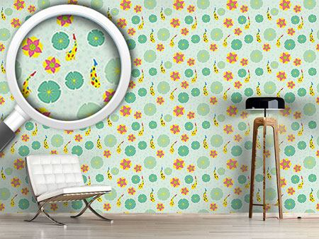 Design Wallpaper Fishes and Waterlilies Pattern