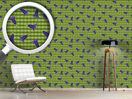 Design Wallpaper Gentian On Checks