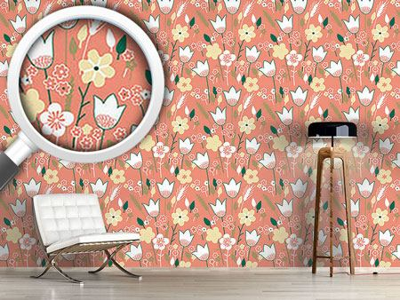Design Wallpaper Meadow In Apricot