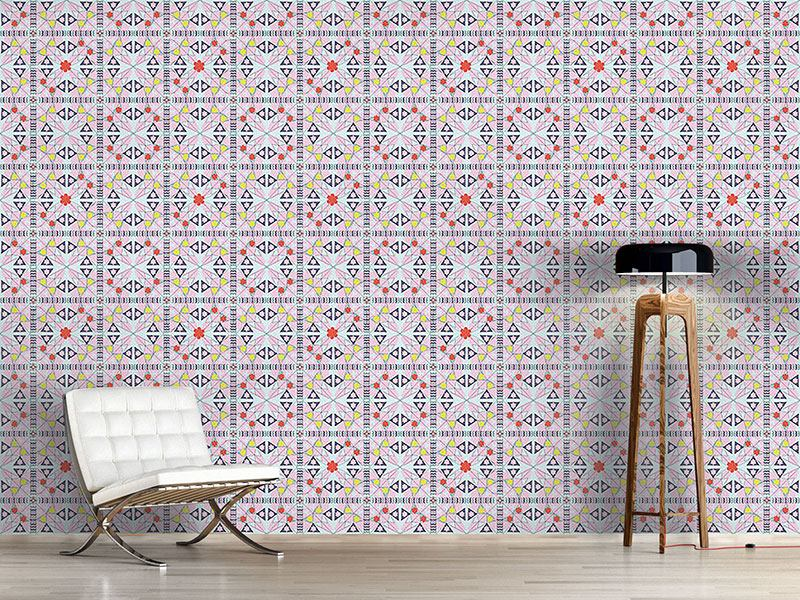Papier peint design Mosaic With Flowers