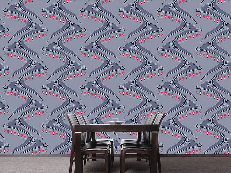 Papier peint design Floral Hearts Pink On Grey