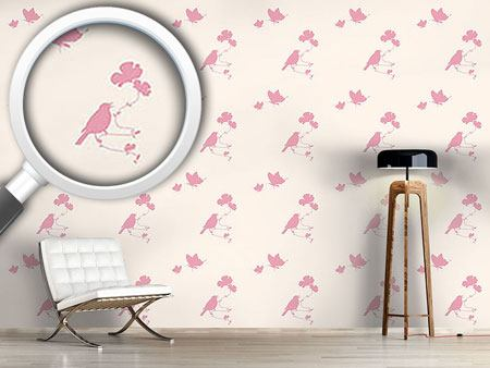 Papier peint design Animals In Spring Pink
