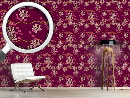 Design Wallpaper Lotus Liebe Bordeaux