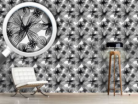 Papier peint design Spiralflowers BW
