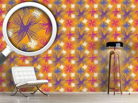 Design Wallpaper Spiralflowers Saffron