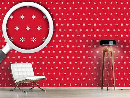 Design Wallpaper Snow Flakes White