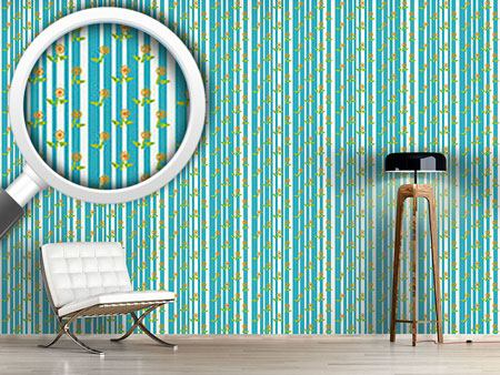Design Wallpaper Stripes and flowers