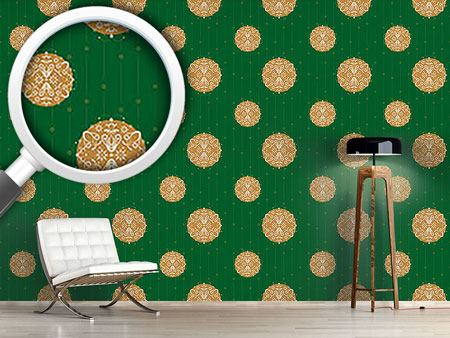 Design Wallpaper Christmas Ornaments Green