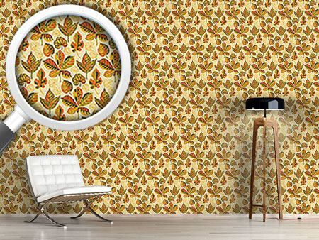 Design Wallpaper Golden Leaves Morning Glory