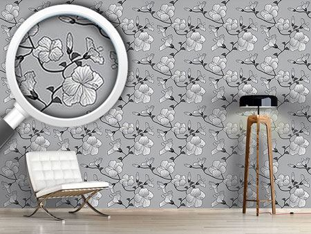 Design Wallpaper Hibiscus Monochrome