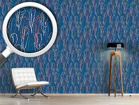 Design Wallpaper Feathers Handdrawn Blue