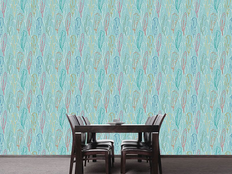 Design Wallpaper Feathers Handdrawn Azur