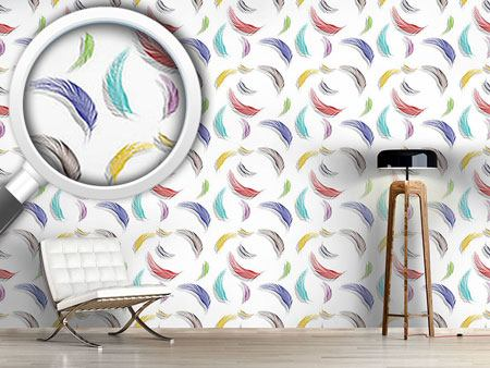 Design Wallpaper Colorful Feather Pattern