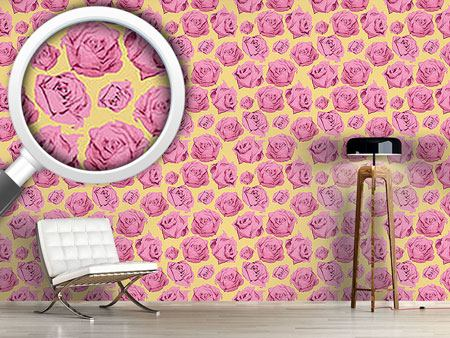 Design Wallpaper Art Rose Gelb