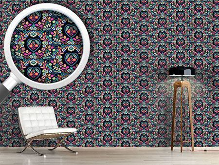 Design Wallpaper Floral Glory Blue