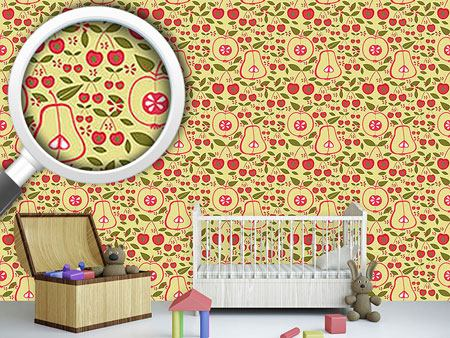 Design Wallpaper Fruit Garden Beige