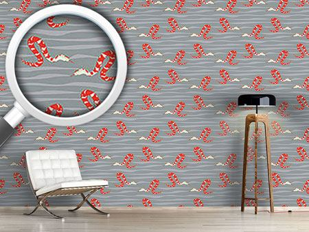 Design Wallpaper Water Snakes Red