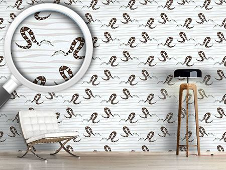 Design Wallpaper Water Snakes Black
