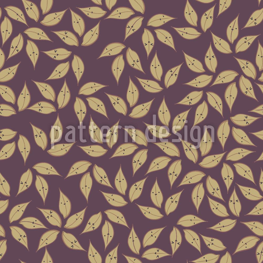 Designtapete Blatt Gold Winter