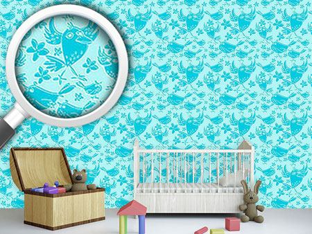 Design Wallpaper Songbird Sing Turquoise