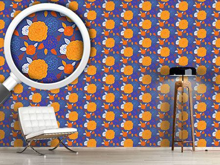 Design Wallpaper Pompon Blue
