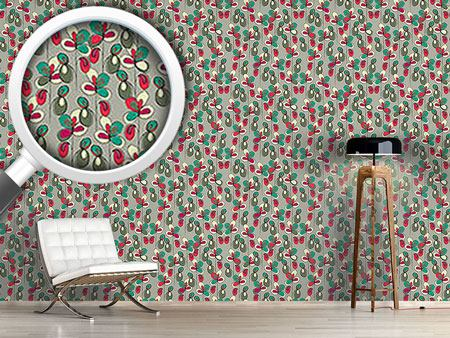 Papier peint design Lucky Flowers Grey