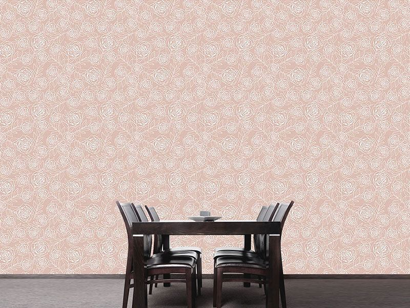 Design Wallpaper Rose Engraving