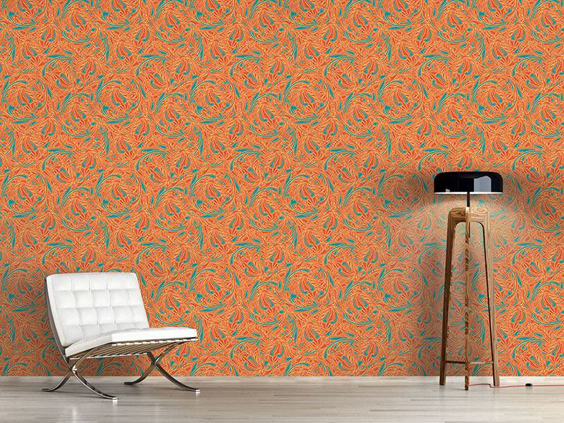 Designtapete Kupferstich Orange