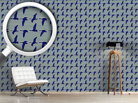 Design Wallpaper Goose Blue