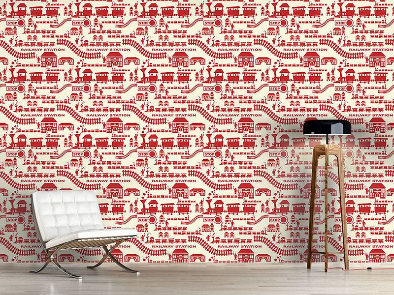 Design Wallpaper Railway Station Red