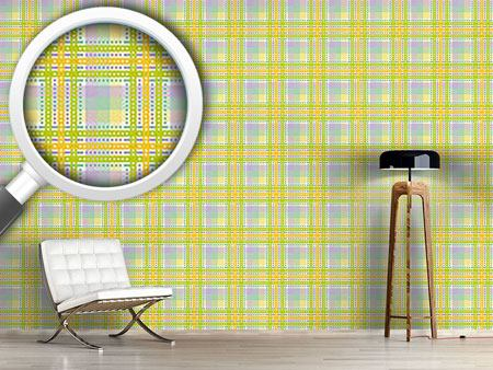 Papier peint design Yellow Tartan