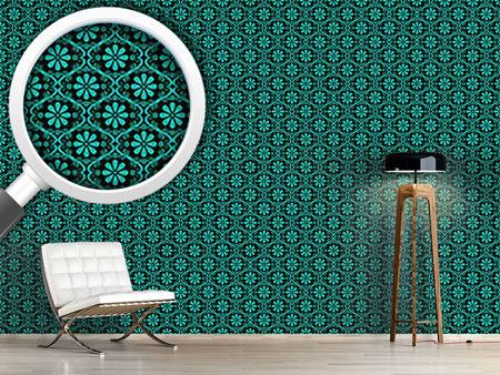 Papier peint design All Over Turquoise Flowers