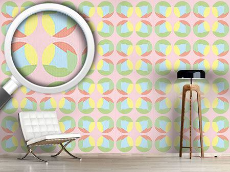 Papel tapiz de diseño Striped Circles In Pastel