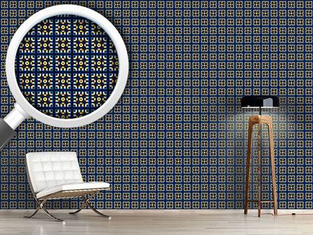 Design Wallpaper Tiles In Blue And Gold