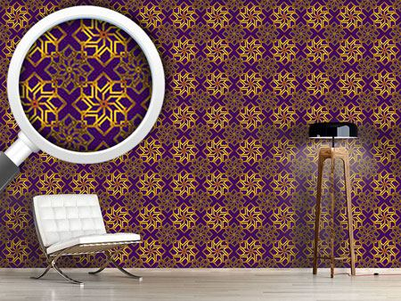 Papier peint design Golden Stars On Violet
