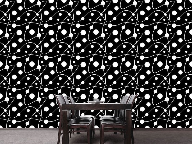 Papel tapiz de diseño Circular Rounds Black And White
