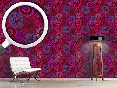 Design Wallpaper Roses In Circles