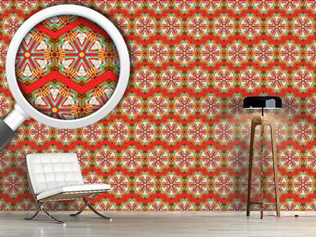 Design Wallpaper Kaleidoscope Zig Zag Red