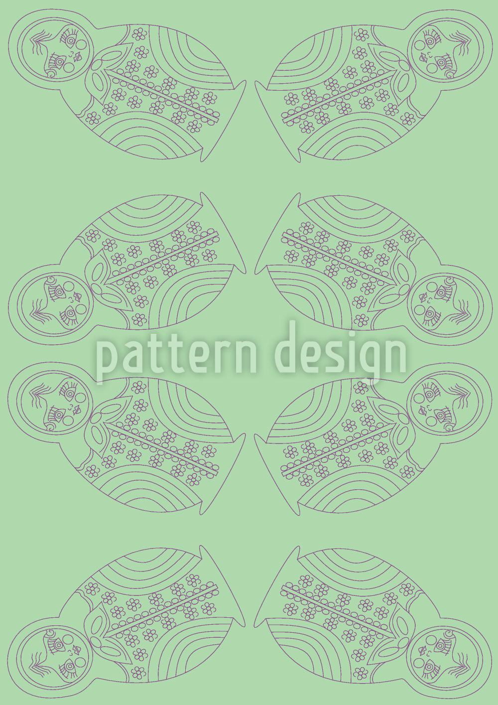 Design Wallpaper Matryoshkas On Green