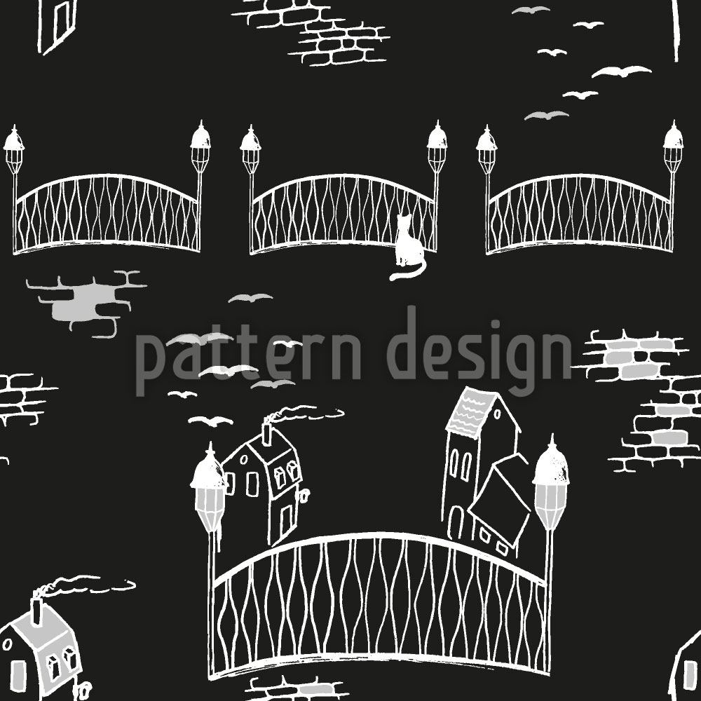 Papier peint design Kitten Bridge At Night
