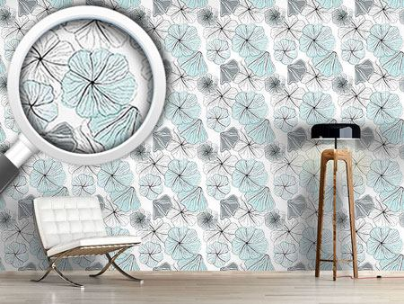Design Wallpaper Hibiscus Blossoms Aqua