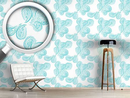 Design Wallpaper Aqua Paisley